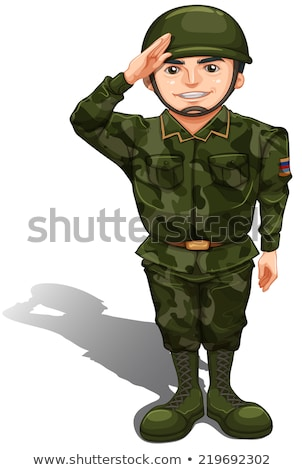 A smiling soldier doing a hand salute Stock photo © bluering