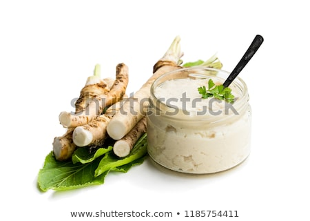Mierikswortel saus slasaus mayonaise plantaardige room Stockfoto © Digifoodstock