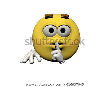 Emoticon Nachfrage Schweigen 3d render isoliert weiß Stock foto © mariephoto