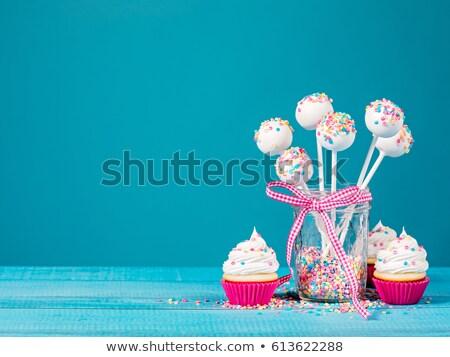 Valentin · nap · torta · illusztráció · szalag · tányér · desszert - stock fotó © m-studio