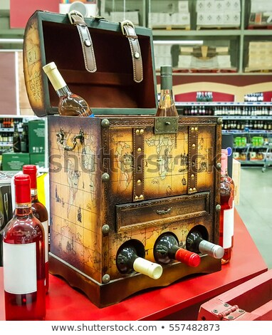 decorative open the chest for storing wine bottles in the store stock photo © zeffss