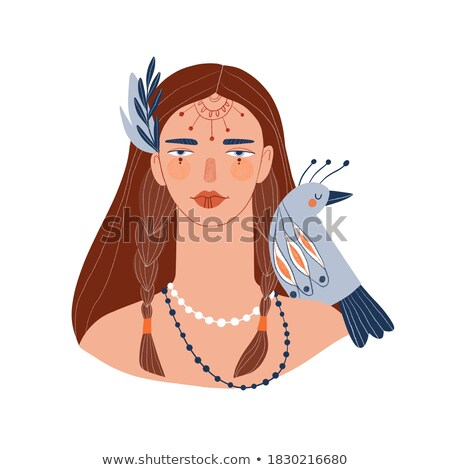 cute woman indian tribal cartoon stock photo © jawa123