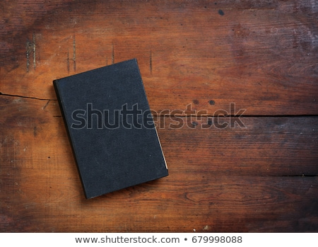 Vintage School Desk Top With Closed Blank Book Stock photo © albund