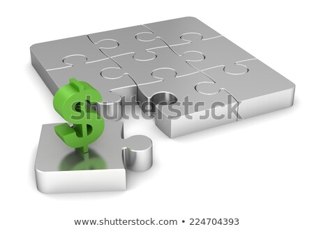 Stock photo: Green puzzle dollar sign