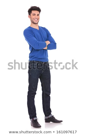 full body picture of laughing casual man with hands crossed  Stock photo © feedough