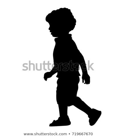 Garçon silhouette courir posent eps 10 Photo stock © Istanbul2009