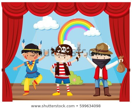 Kids playing pirate on stage Stock photo © bluering