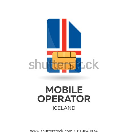 Iceland mobile operator. SIM card with flag. Vector illustration. Stock photo © Leo_Edition
