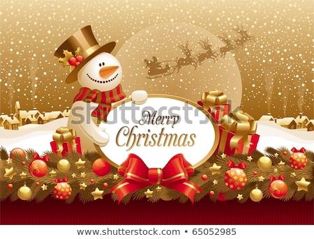 Vidám karácsony hóember piros íj hó Stock fotó © ayaxmr