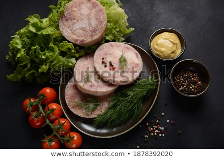 jambon · dilimleri · kiraz · domates · ahşap - stok fotoğraf © digifoodstock
