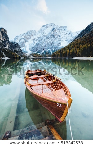 Great alpine lake Braies (Pragser Wildsee). Location place Dolom Stock photo © Leonidtit