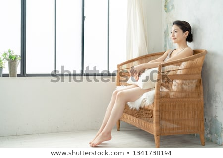 full length portrait of a beautiful young girl in underwear stock photo © deandrobot