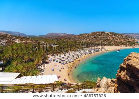 Tengerpart Görögország pálma egy legnagyobb mediterrán Stock fotó © ankarb