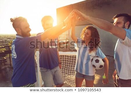 Cinque giovani amici giocare calcio bambini Foto d'archivio © monkey_business