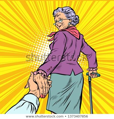 Bana olgun kadın büyükanne el pop art Retro Stok fotoğraf © studiostoks