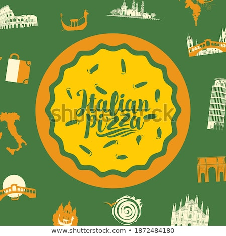 Fast food pizza levering folders stijl horizontaal Stockfoto © studioworkstock