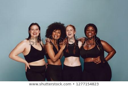 nadwaga · kobieta · odizolowany · biały · kobiet - zdjęcia stock © hsfelix