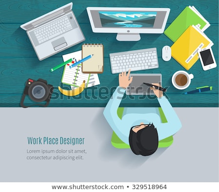 Top view vector illustrations set of gadgets Stock photo © Sonya_illustrations