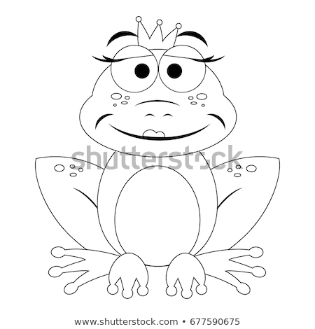 Black And White Princess Frog Cartoon Mascot Character With Crown And Arrow Stock photo © hittoon