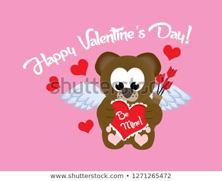 Oyuncak ayı karikatür maskot karakter valentine sevmek Stok fotoğraf © hittoon
