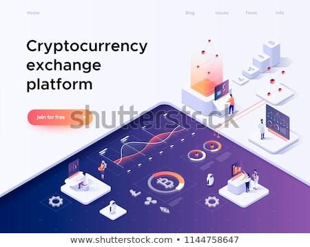 Isometric cryptocurrency exchange trading concept. Stock photo © RAStudio