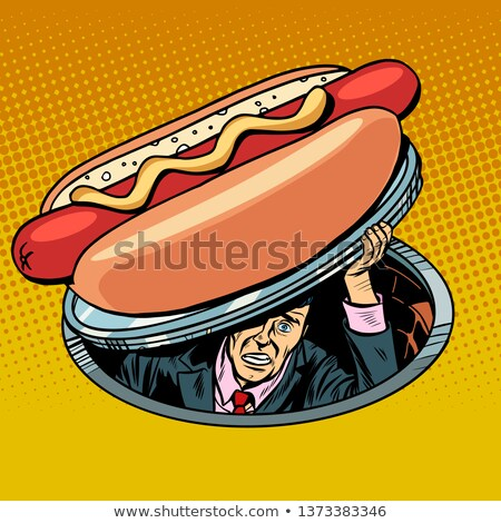 Hot dog man fast food pop art retro vintage Stockfoto © studiostoks