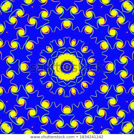 Round symmetrical digital ornament. Abstract Blue Yellow Mandala Stock photo © ESSL