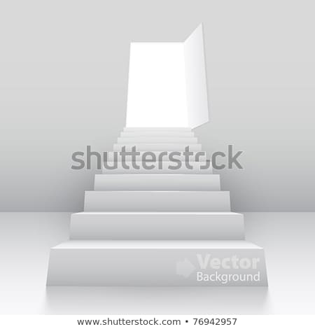 staircase and door on white background. Isolated 3D illustration Stock photo © ISerg