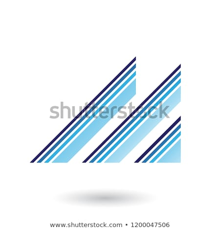 Blue Letter M with Diagonal Retro Stripes Vector Illustration Stock photo © cidepix