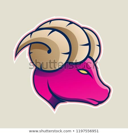 Magenta Aries or Ram Cartoon Icon Vector Illustration Stock photo © cidepix