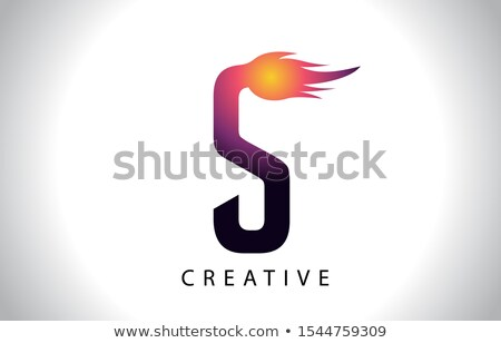 Magenta Letter S Shaped Fire Icon Vector Illustration Stock photo © cidepix