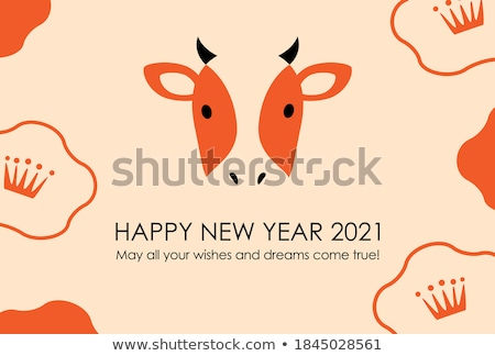 Orange Cartoon Bull Icon Vector Illustration Stock photo © cidepix