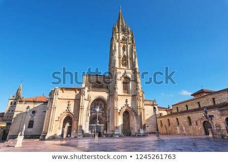 Photo stock: Cathédrale · statue · construction · rue · église · bleu