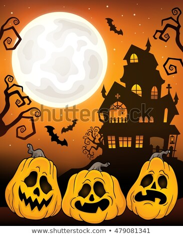 halloween · maison · fenêtre · orange · fumée · oiseau - photo stock © clairev