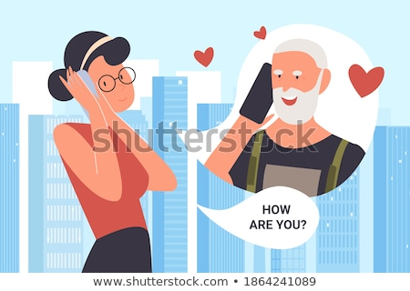 Grandfather calling - modern vector cartoon character illustration Stock photo © Decorwithme