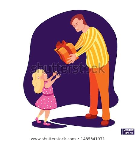 Niña feliz regalos padres vector aislado ilustración Foto stock © pikepicture