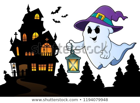 ghost with hat and lantern topic 3 stock photo © clairev