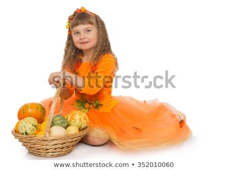 Portré aranyos gyermek tart fonott kosár Stock fotó © konradbak