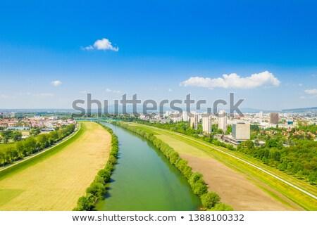 Río Zagreb paisaje urbano edificio azul Foto stock © xbrchx