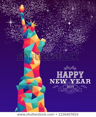 Happy new year Amerika renk üçgen tebrik kartı Stok fotoğraf © cienpies