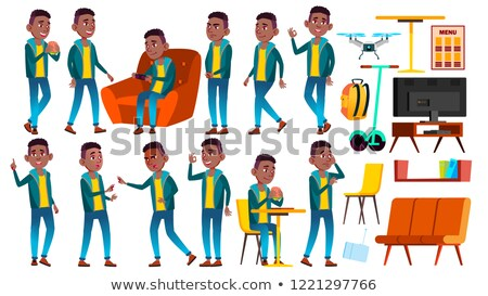 Boy Schoolboy Kid Poses Set Vector. Black. Afro American. High School Child. School Student. Graduat Stock photo © pikepicture