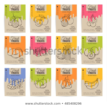 Stock photo:  Healthy food poster or banner with hand drawn fruits