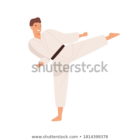 Artes marciais karatê cara desenho animado forte Foto stock © jeff_hobrath