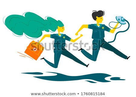Ambulance, Running Doctor Man With First Aid Box Vector. Isolated Cartoon Illustration Stock photo © pikepicture