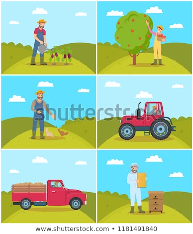 Farming Person and Lorry Set Vector Illustration Stock photo © robuart