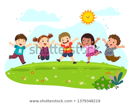 people playing and relaxing in park cartoon banner stock photo © robuart