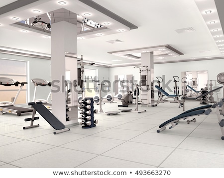 interior of new modern gym with equipment stock photo © boggy