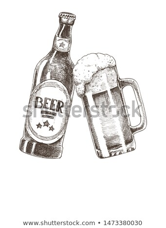 Craft Beer Bottle and Glass Promo Poster with Text Stock photo © robuart