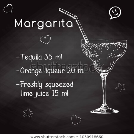 Simple recipe for an alcoholic cocktail Margarita. Drawing chalk on a blackboard. Vector illustratio Stock photo © Arkadivna