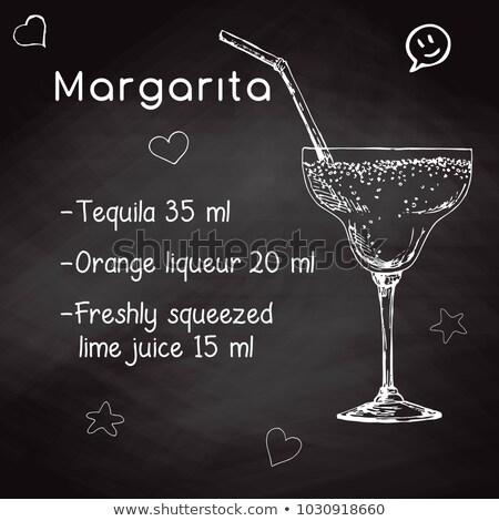 Simple recipe for an alcoholic cocktail Margarita. Drawing chalk on a blackboard. Vector illustratio stock photo © Arkadivna
